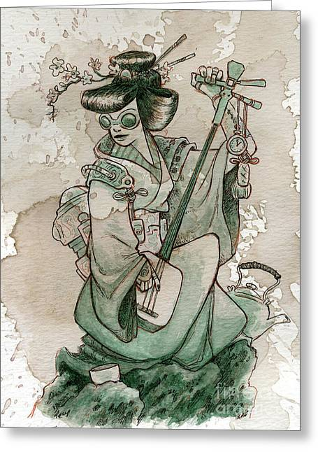 Japan Paintings Greeting Cards - Samisen Greeting Card by Brian Kesinger