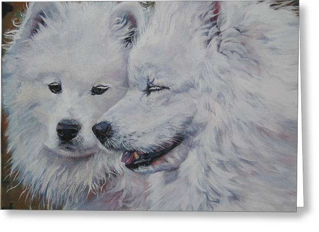 Samoyed Conversation Greeting Card by Lee Ann Shepard