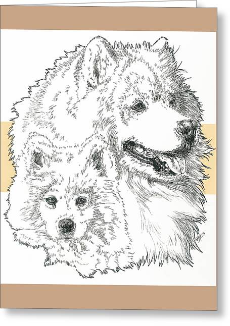 Working Dog Mixed Media Greeting Cards - Samoyed Father and Son Greeting Card by Barbara Keith
