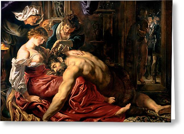1640 Greeting Cards - Samson and Delilah Greeting Card by Peter Paul Rubens