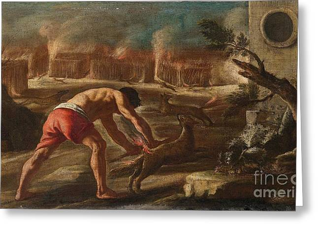 The Cornfield Greeting Cards - Samson Burning the Cornfields of the Philistines Greeting Card by Celestial Images