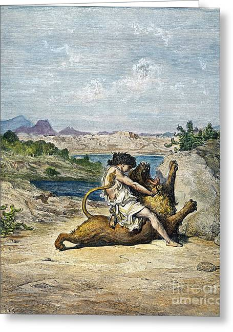 Dore Greeting Cards - Samson Slaying A Lion Greeting Card by Granger