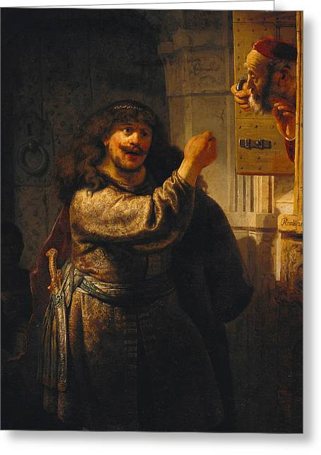 Samson Threatening His Father-in-law Greeting Card by Rembrandt