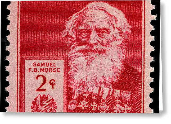 James Hill Greeting Cards - Samuel F B Morse postage stamp Greeting Card by James Hill