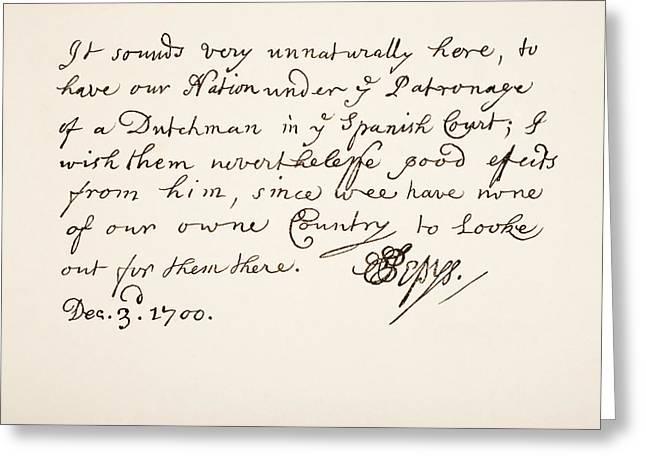 Pepys Greeting Cards - Samuel Pepys, 1633 Greeting Card by Ken Welsh