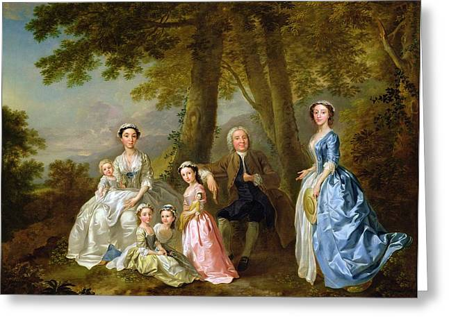 Group Portraiture Greeting Cards - Samuel Richardson seated with his family Greeting Card by Francis Hayman