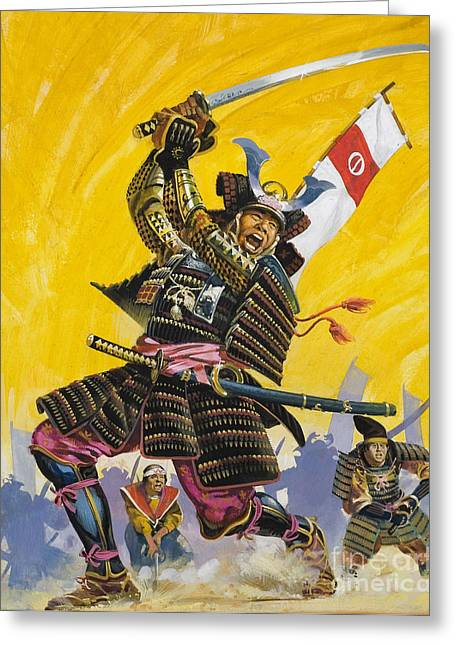 Japan Paintings Greeting Cards - Samurai Warriors Greeting Card by English School