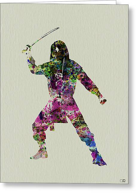 Dancing Girl Greeting Cards - Samurai with a sword Greeting Card by Naxart Studio