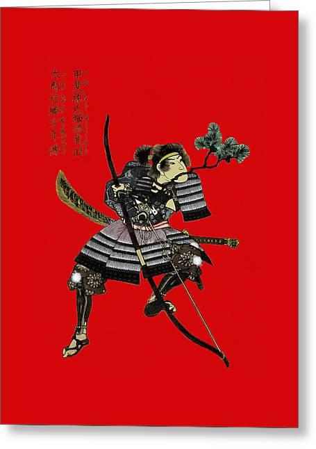Engraving Greeting Cards - Samurai with bow Greeting Card by Sergey Lukashin