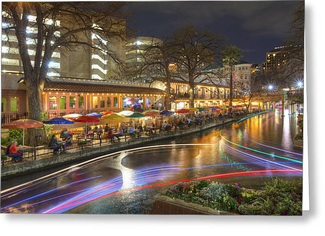 Riverwalk Greeting Cards - San Antonio Images - The Riverwalk at Night 2 Greeting Card by Rob Greebon