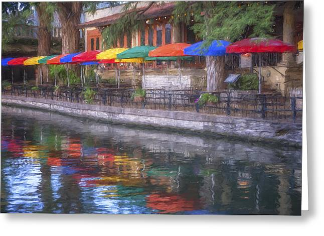 San Antonio Riverwalk Colors Greeting Card by Joan Carroll