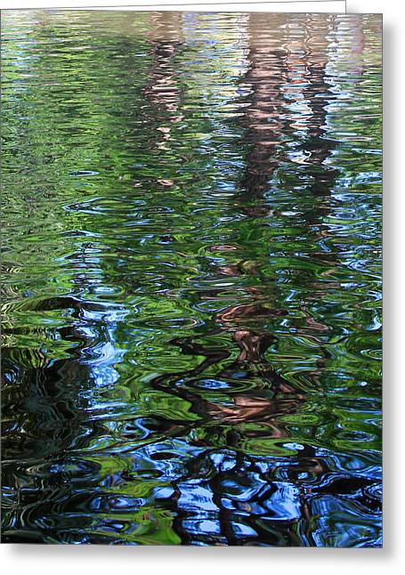 Reflections In River Greeting Cards - San Antonio Riverwalk Reflection Greeting Card by Mary Bedy