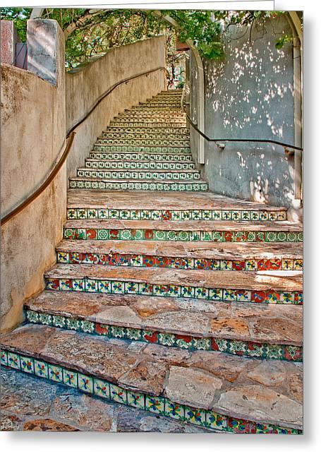 Riverwalk Greeting Cards - San Antonio Riverwalk Stairway Greeting Card by David and Carol Kelly