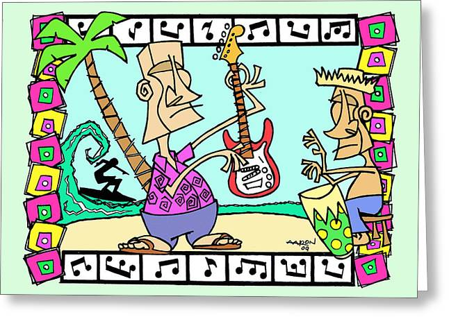 San Clemente Ocean Festival Tiki Greeting Card by Aaron Bodtcher