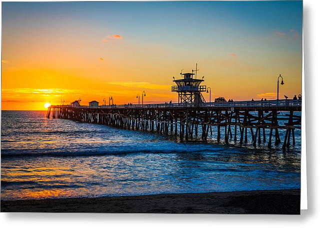 San Clemente Pier At Dusk Greeting Card by Mountain Dreams