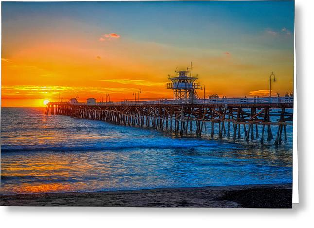 San Clemente California Greeting Cards - San Clemente Pier At Sunset Greeting Card by Marvin Kimble