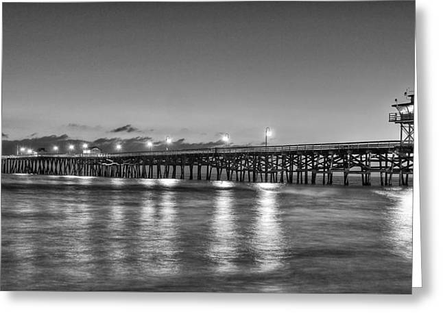 Clemente Greeting Cards - San Clemente Pier - Black and White Greeting Card by Richard Cheski