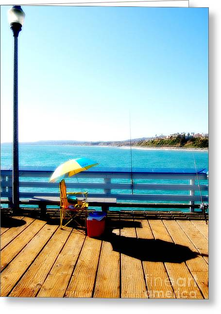 Clemente Greeting Cards - San Clemente Pier-Lounging Greeting Card by Roland Ciuoderis