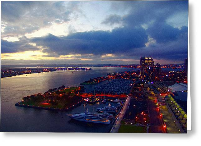 San Diego By Night Greeting Card by Glenn McCarthy Art and Photography