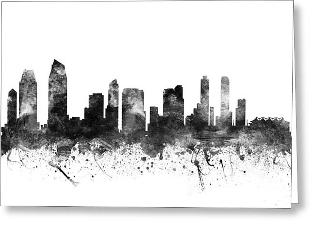 Grunge Drawings Greeting Cards - San Diego California Cityscape 02BW Greeting Card by Aged Pixel