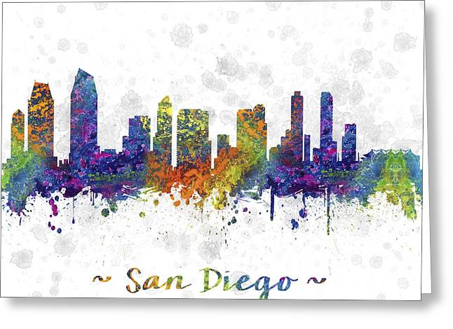 Cityscape Drawings Greeting Cards - San Diego California Skyline Color 03SQ Greeting Card by Aged Pixel