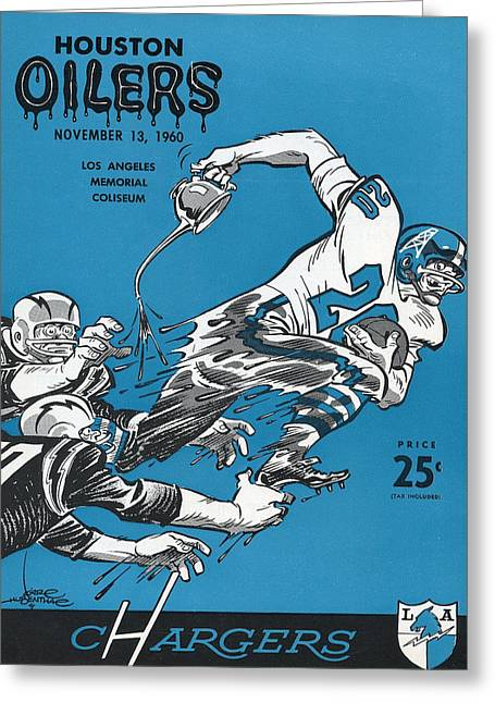 San Diego Chargers Greeting Cards - San Diego Chargers Vintage Program 2 Greeting Card by Joe Hamilton