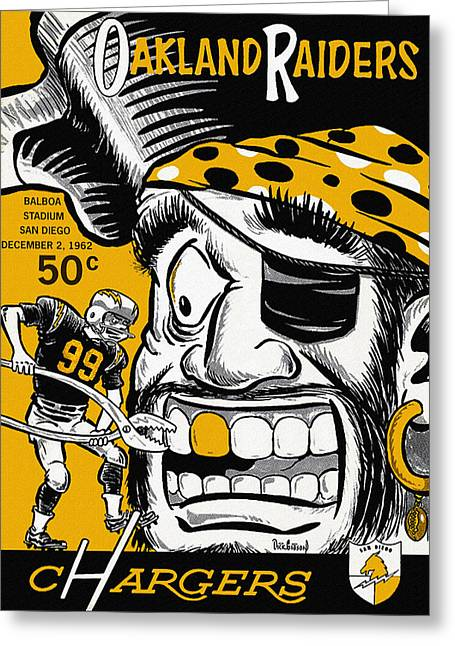 Pro Football Paintings Greeting Cards - San Diego Chargers VS Oakland Raiders 1962 Program Greeting Card by Big 88 Artworks