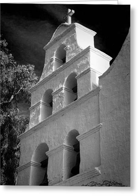 Historic Architecture Greeting Cards - San Diego de Alcala Campanario Greeting Card by Stephen Stookey