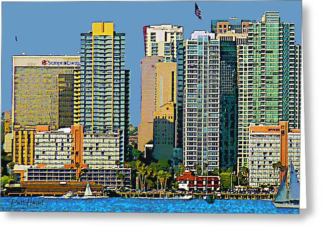 Docked Boats Digital Greeting Cards - San Diego Downtown Living - Bayside Greeting Card by Russ Harris