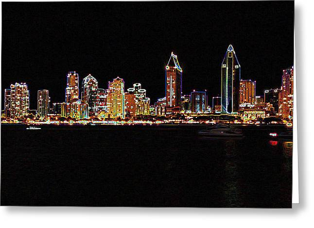 Digital Greeting Cards Greeting Cards - San Diego in neon Greeting Card by Evelyn Patrick