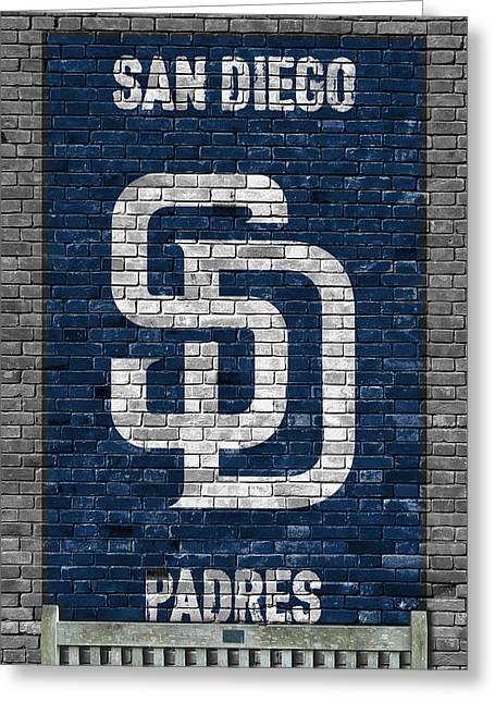 San Diego Padres Brick Wall Greeting Card by Joe Hamilton
