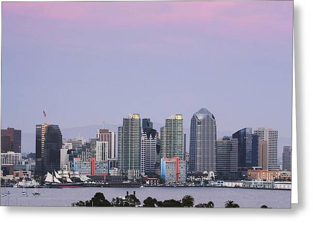San Diego Skyline and Marina at Dusk Greeting Card by Jeremy Woodhouse