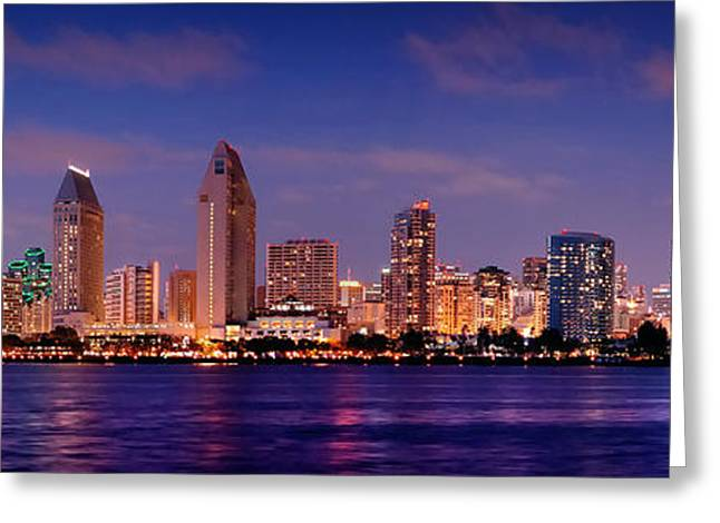 San Diego Skyline At Dusk Greeting Card by Jon Holiday