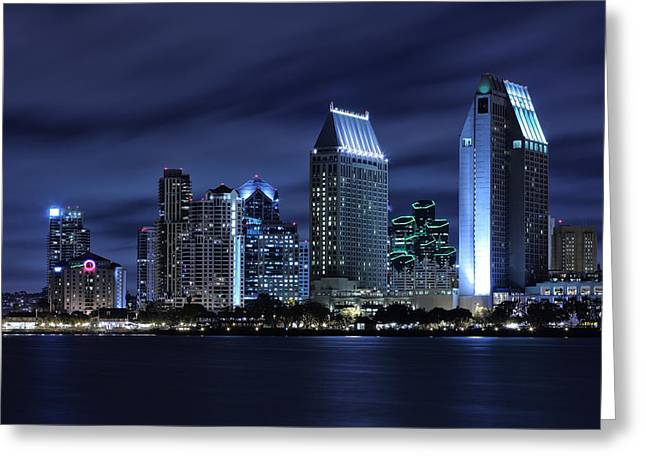 Exposure Greeting Cards - San Diego Skyline at Night Greeting Card by Larry Marshall