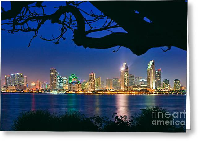 Panoramic Ocean Greeting Cards - San Diego Skyline from Bay View Park in Coronado Greeting Card by Sam Antonio