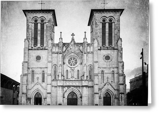 Religious Greeting Cards - San Fernando Cathedral BW Greeting Card by Joan Carroll