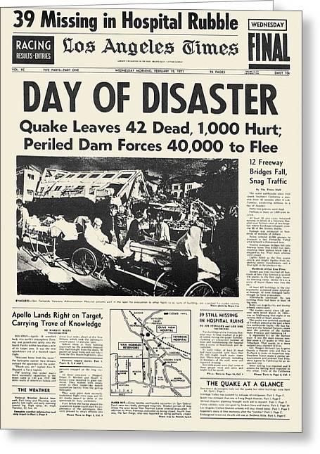 Evacuee Greeting Cards - San Fernando Earthquake, 1971 Greeting Card by Granger
