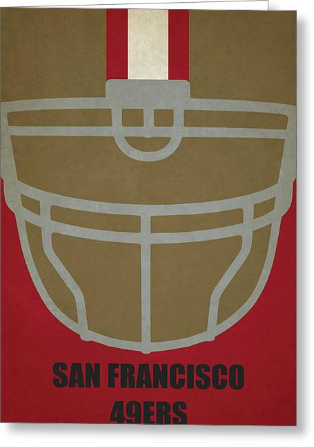 San Francisco 49ers Helmet Art Greeting Card by Joe Hamilton