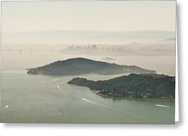 Foggy Beach Greeting Cards - San Francisco Angel Island and Bay Greeting Card by Eddy Joaquim