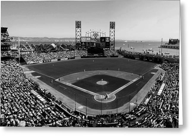 Best Sellers -  - China Cove Greeting Cards - San Francisco Ballpark BW Greeting Card by C H Apperson