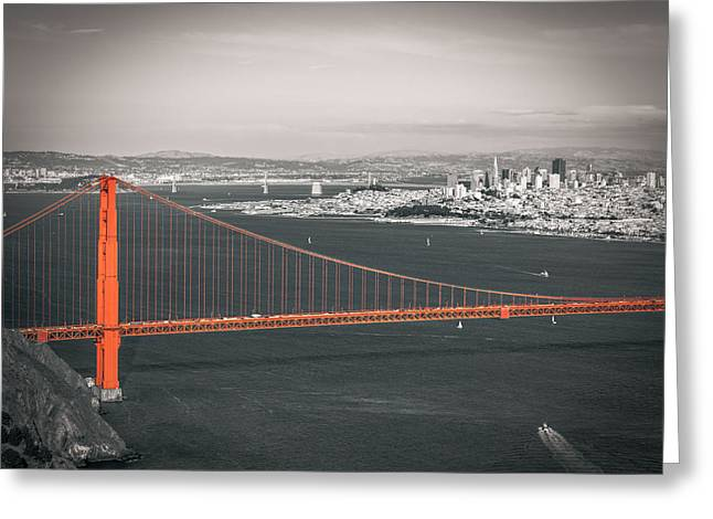 Golden Gate Greeting Cards - San Francisco Bay and Golden Gate Bridge in Selective Color Greeting Card by James Udall
