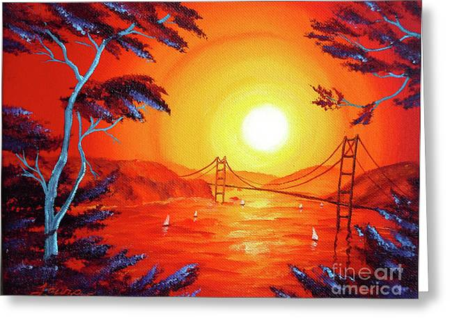 San Francisco Bay In Bright Sunset Greeting Card by Laura Iverson