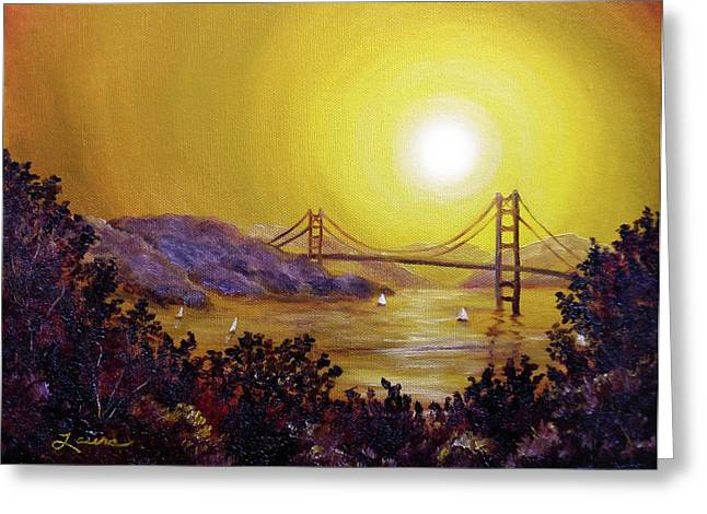 Yellow Sailboats Paintings Greeting Cards - San Francisco Bay in Golden Glow Greeting Card by Laura Iverson