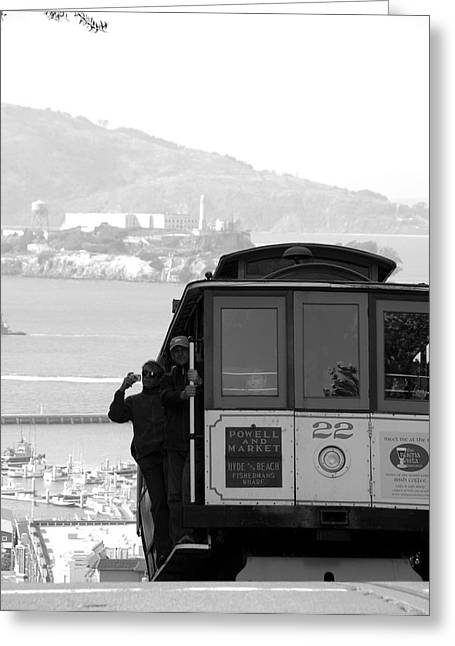 Alcatraz Greeting Cards - San Francisco Cable Car with Alcatraz Greeting Card by Shane Kelly