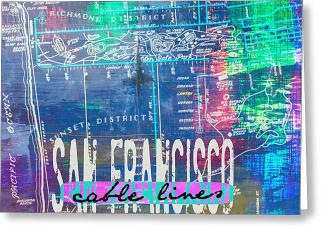 San Francisco Cable Lines V1 Greeting Card by Brandi Fitzgerald