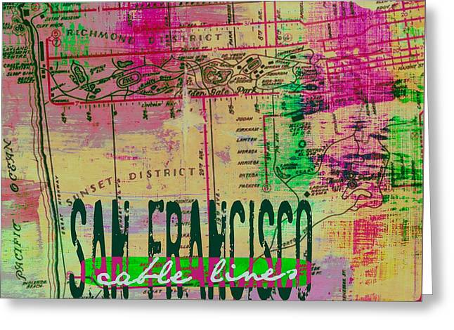 San Francisco Cable Lines V2 Greeting Card by Brandi Fitzgerald