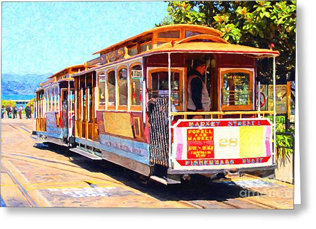 Bayarea Greeting Cards - San Francisco Cablecar At Fishermans Wharf . 7D14097 Greeting Card by Wingsdomain Art and Photography