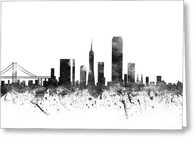 Skylines Drawings Greeting Cards - San Francisco California Cityscape 02BW Greeting Card by Aged Pixel