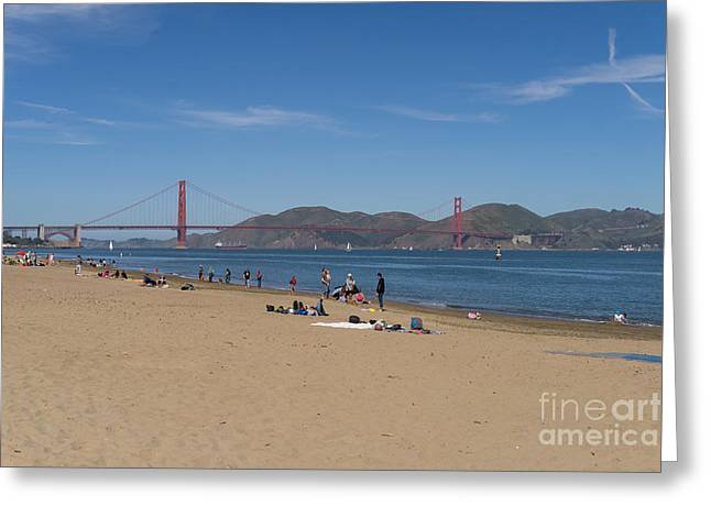 Suntanning Greeting Cards - San Francisco California Crissy Field East Beach DSC3088 Greeting Card by Wingsdomain Art and Photography