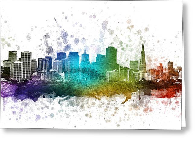 Downtown Drawings Greeting Cards - San Francisco California in Color 02 Greeting Card by Aged Pixel